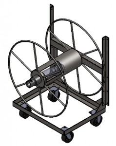 Rotated view of live hose reel. Floor model shown with optional wheel package