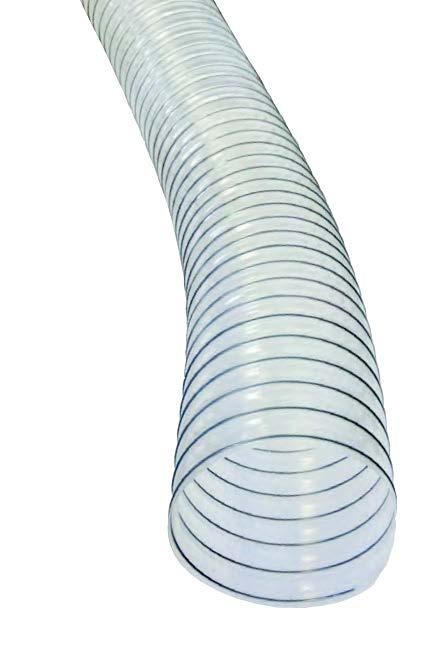 """Hose, Flex-Tube EF 4"""" x 50' clear w/grn helix"""